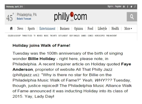 Billie Holiday Joins Walk of Fame