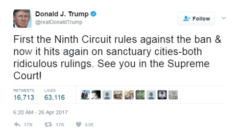 Trump Sanctuary City Ruling Tweet