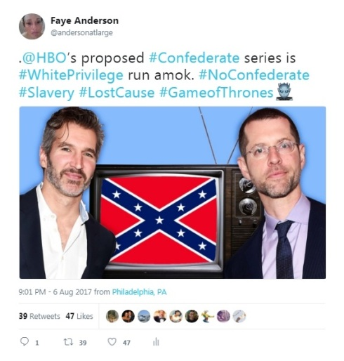 #NoConfederate White Privilege Tweet