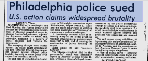 Justice Department sues Philly Press Clipping - 1979