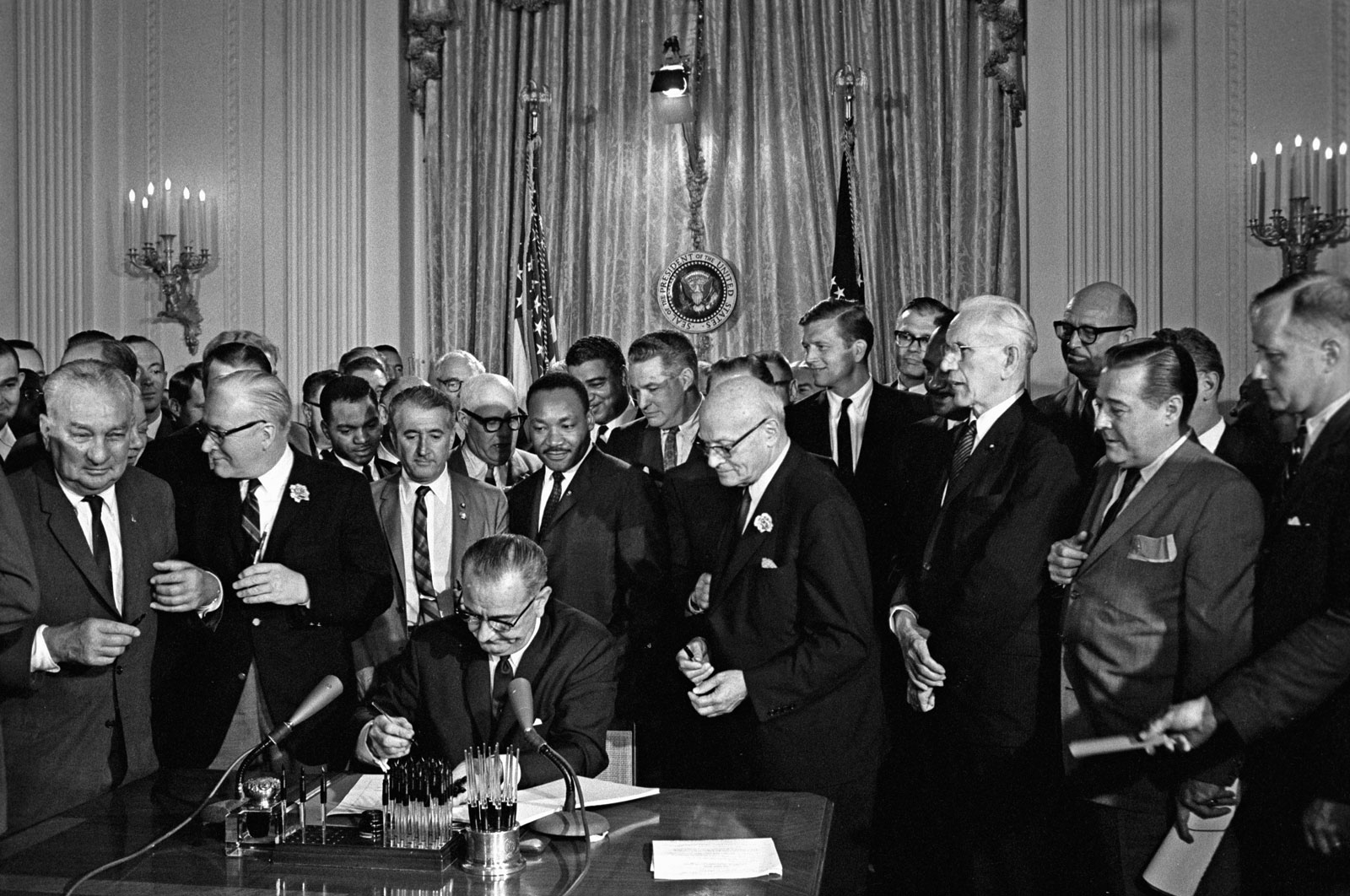 Pres-Lyndon-B-Johnson-others-Martin-Luther-July-2-1964